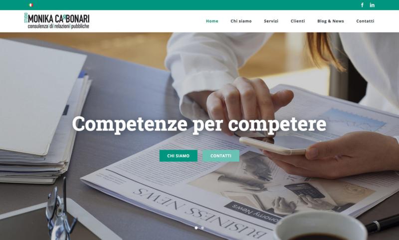 Screen del sito web dello Studio Monika Carbonari - Consulenza di Relazioni Pubbliche